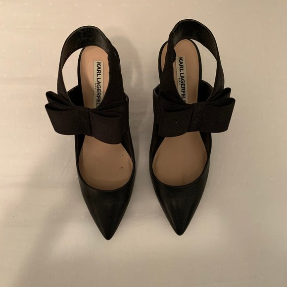 Karl Lagerfeld Black Bow Heels